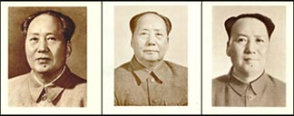 Mao portraits in the 1st, 2nd, and 4th editions